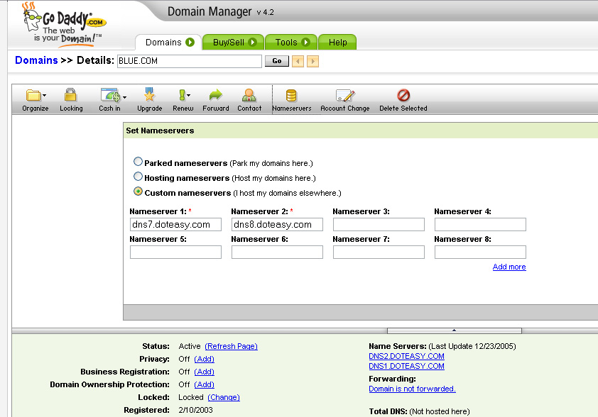 Doteasy Knowledge Base: Go Daddy DNS Changes